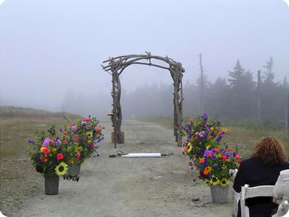 Colorful flower arrangements lining the outdoor aisle to a wedding arch, bringing festive color to a misty, atmospheric day